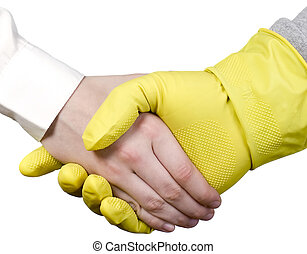 Cleaning worker and businessman - Cleaning worker with glove...