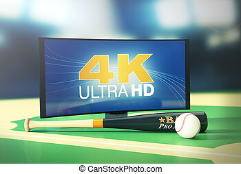 sport on 4k format - curved tv with 4k on screen, a baseball...