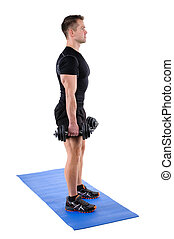 Standing Dumbbell Calf Raise or Squats workout - Young man...