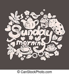 Sunday morning doodles. Hand-drawn vector image.