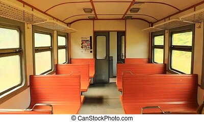 inside of electric train - image of inside of carriage of...