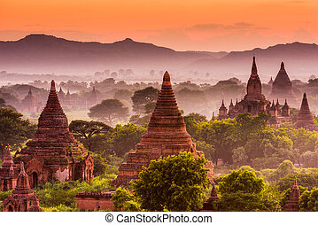 Bagan Archeological Zone - Bagan, Myanmar acient temples in...