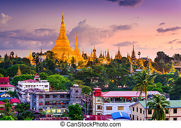 Yangon Skyline - Yangon, Myanmar skyline at Shwedagon...