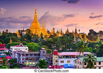 Yangon Skyline - Yangon, Myanmar skyline at Shwedagon...