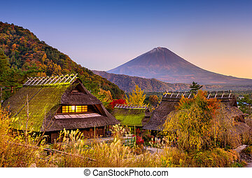 Mt Fuji and Village - Mount Fuji, Japan viewed from a...