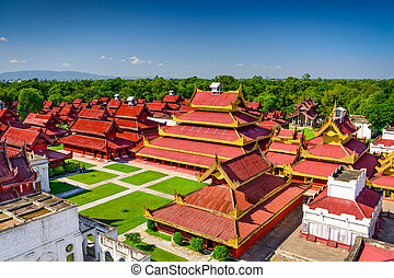 Mandalay Royal Palace - Mandalay, Myanmar buildings on the...