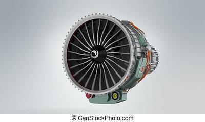 Turbofan jet engine - Animation of turbofan jet engine on...