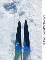 Cross Country Ski and Snow - Cross Country Ski Closeup and...