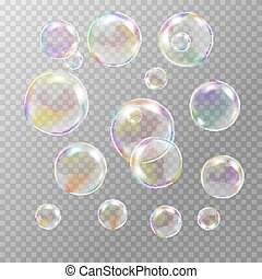 Set of multicolored transparent soap bubbles with glares,...
