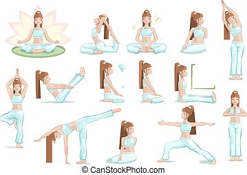 Big set yoga female pose