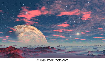 Alien Planet and UFOs - Stony desert covered with red, blue...