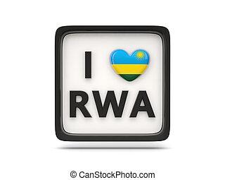 I love rwanda sign isolated on white