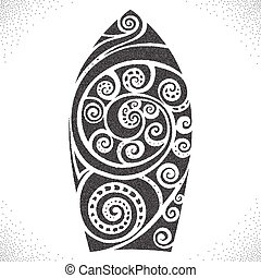 Surf board. Dotwork pattern - Surf board. Black and white...