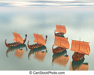 Viking Fleet of Ships - A fleet of viking raider ships on...