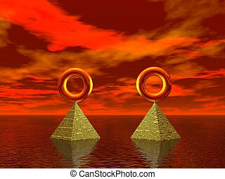 Balance and Alignment - Golden rings in the sea aligned and...
