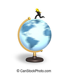 Businessman carrying euro sign running on rotating globe -...
