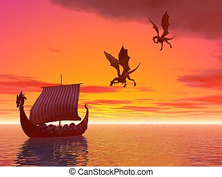 Dragon ship dragons - A viking dragon raider ship followed...