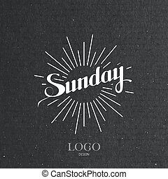 word Sunday and light rays - vector typographical...