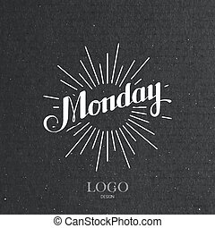 word Monday and light rays - vector typographical...