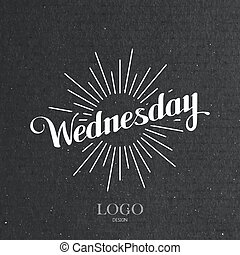 word Wednesday and light rays - vector typographical...