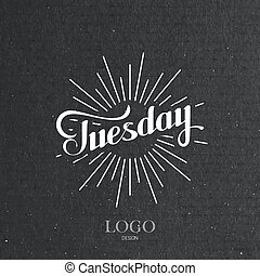 word Tuesday and light rays - vector typographical...