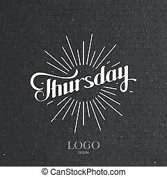word Thursday and light rays - vector typographical...