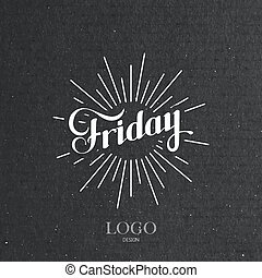 word Friday and light rays - vector typographical...
