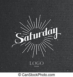 word Saturday and light rays - vector typographical...