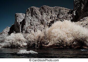 Moonlight Desert River Mountain - Moonlight river in the...