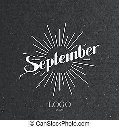 illustration of handwritten September retro label with light...