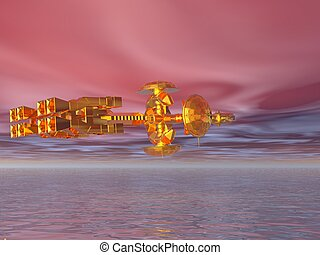 Spaceship Golden - Golden spaceship exploring a beautiful...