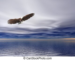 Bald Eagle - Illustrated surreal bald eagle flying over sea