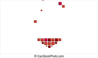 Geometric red heart symbol on white. Video animation...