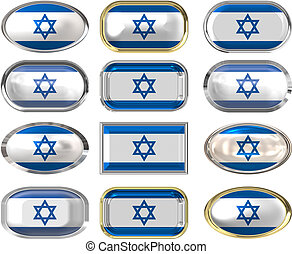 12 buttons of the Flag of Israel