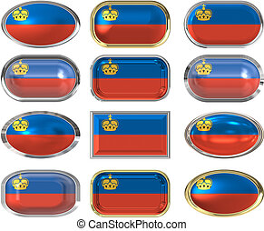 12 buttons of the Flag of liechtenstein