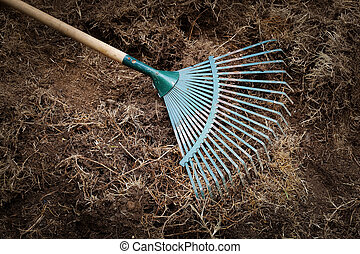yard work, preparation soil in garden with rake shoveling...