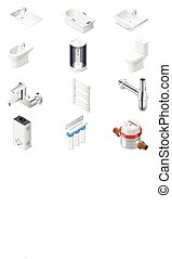 Sanitary engineering icon set - Sanitary engineering...