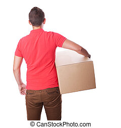 Smiling delivery man is holding a paper box. Back view.