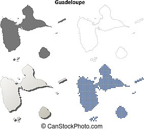 Guadeloupe outline map set - Guadeloupe blank detailed...