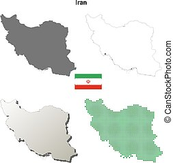 Iran outline map set