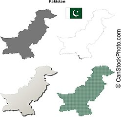 Pakistan outline map set - Pakistan blank detailed vector...