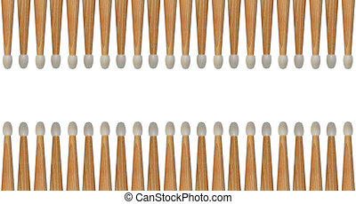Row of drumsticks background - Several drumsticks isolated...
