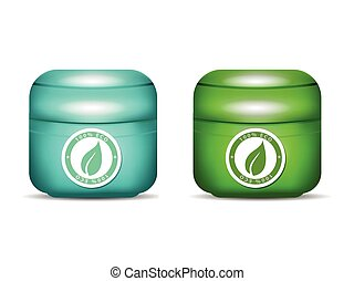 Cosmetic Container for Cream Blue and Green