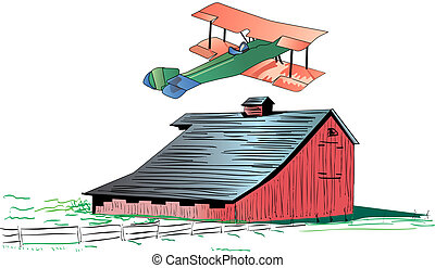 Barnstorming illustration - Illustration of a red barn...