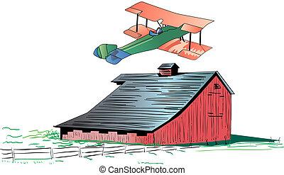 Barnstorming illustration - Illustration of a red barn...