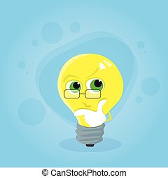 Light Yellow Bulb Think Hold Hand on Chin Look Up Cartoon...