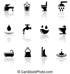 plumbing sanitary engineering icons set - set of black...