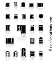 set black windows with reflection - set black windows with...