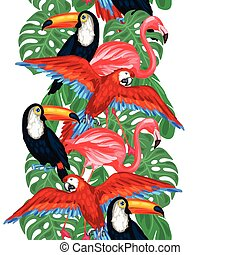 Tropical birds seamless pattern with palm leaves.
