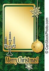 golden and green christmas frame